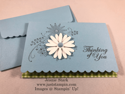 Stampin'Up! A Little Lace Thinking of You Scalloped Note Card idea with Daisy punch - Jeanie Stark StampinUp