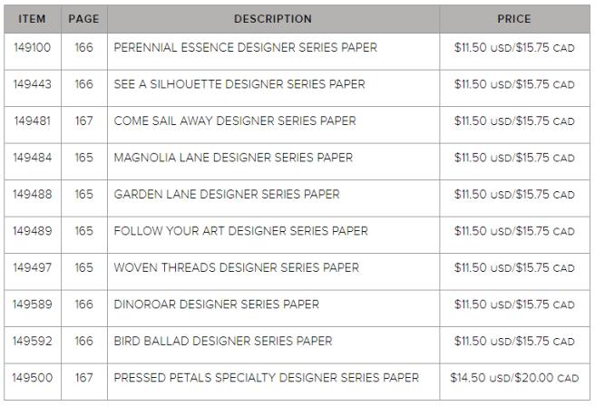 2019 Designer Series Paper Sale