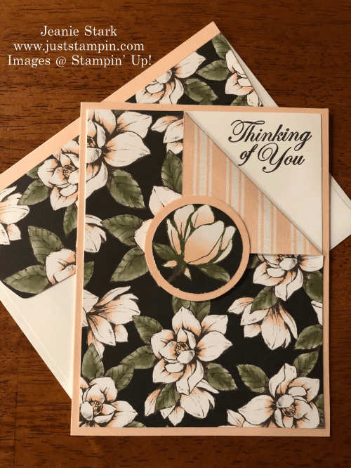 Stampin Up Magnolia Lane corner fold Thinking of You card idea - Jeanie Stark StampinUp