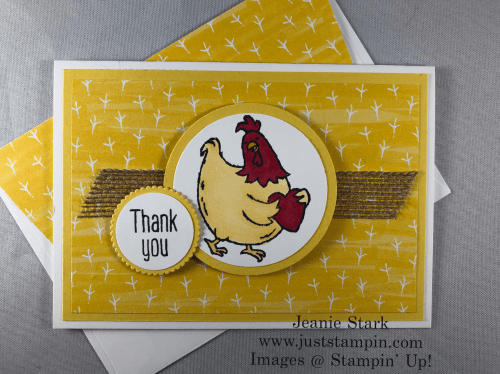Stampin Up Birds of A Feather Thank You Note Card idea colored with Stampin' Blends - Jeanie Stark StampinUp