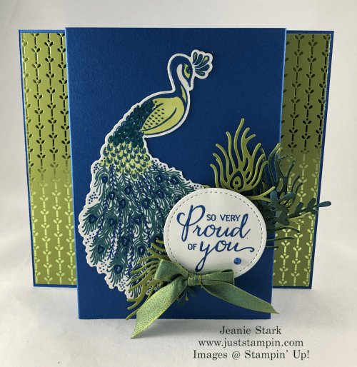 Stampin'Up! Royal Peacock stamp set and Detailed Peacock Dies Uplifting card idea - Jeanie Stark StampinUp