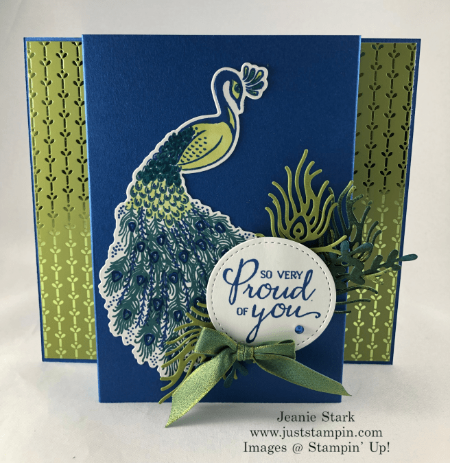 Stampin\'Up! Royal Peacock stamp set and Detailed Peacock Dies Uplifting card idea - Jeanie Stark StampinUp