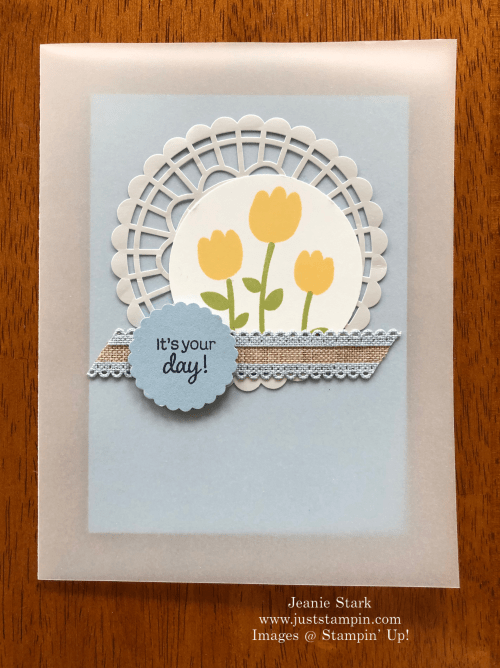 Stampin' Up! Celebrate With Cake Vellum Birthday Card idea - Jeanie Stark StampinUp