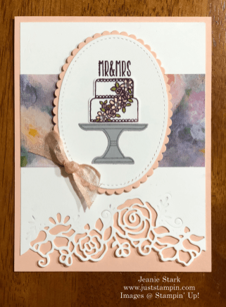 Stampin' Up! Piece of Cake and Lovely Flowers Wedding card idea - Jeanie Stark StampinUp