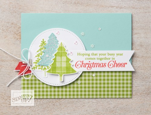 Stampin' Up! Perfectly Plaid Stamp Set and Pine Tree Punch Christmas card idea - For imore inspiration and ordering information, visit juststampin.com - Jeanie Stark StampinUp