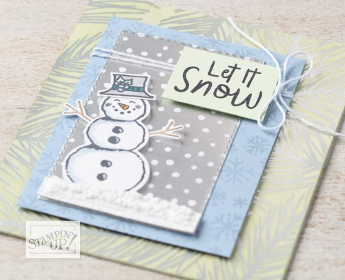 Stampin' Up! Snowman Season Stamp Set and Snowman Builder Punch winter card idea - For inspiration and ordering information, visit juststampin.com - Jeanie Stark StampinUp