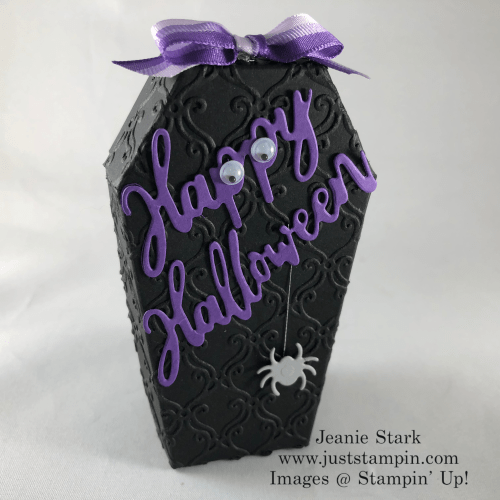 Stampin' Up! Coffin Treat Boxes and Word Wishes Dies Halloween treat idea - Jeanie Stark StampinUp