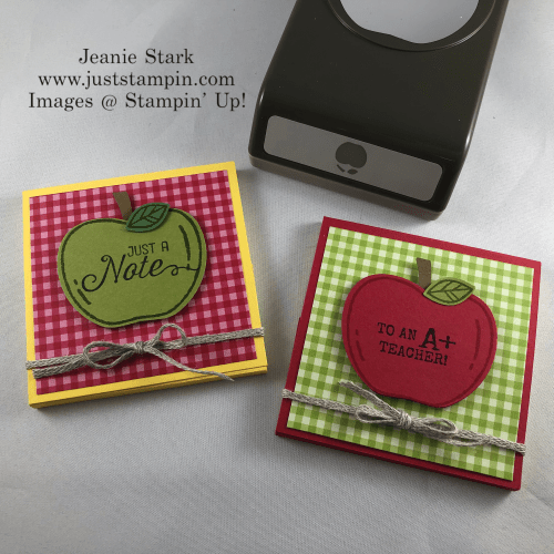 Stampin' Up! Harvest Hellos and Apple Builder Punch Post It Note Holder - Jeanie Stark StampinUp