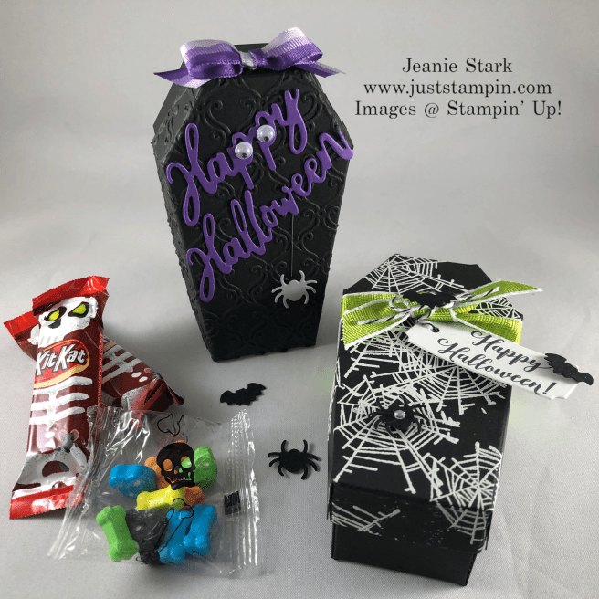 Stampin\' Up! Coffin Treat Boxes and Wonderfully Wicked Stamp Set and Dies Halloween treat ideas - Jeanie Stark StampinUp