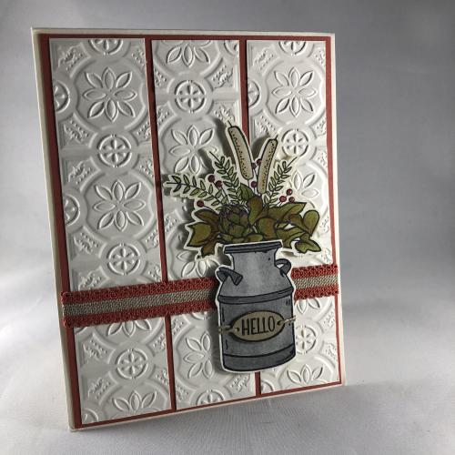 Stampin' Up! Country Home Tin Tile Embossed All Occasion card idea - visit juststampin.com - Jeanie Stark StampinUp