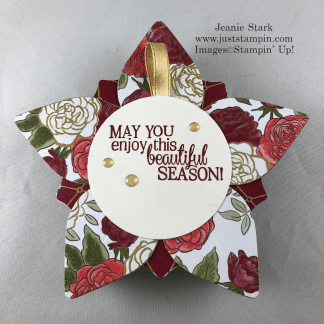 Stampin' Up! Christmastime is Here Specialty Designer Series Paper and Gleaming Ornaments Punch Pack 3D ornament tag or gift idea - Jeanie Stark StampinUp