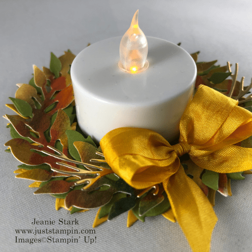 Stampin' Up! All-Around Wreath Dies lighted wreath table favor idea for Thanksgivng - Jeanie Stark StampinUp