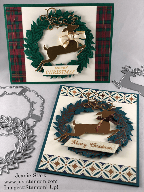 Stampin' Up! Tidings All Around and Detailed Deer Christmas wreath card idea - Jeanie Stark StampinUp