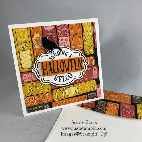 Stampin' Up! Tags Tags Tags Bundle and Monster Bash Designer Series Paper 3 x 3 Halloween note card idea - Jeanie Stark StampinUp