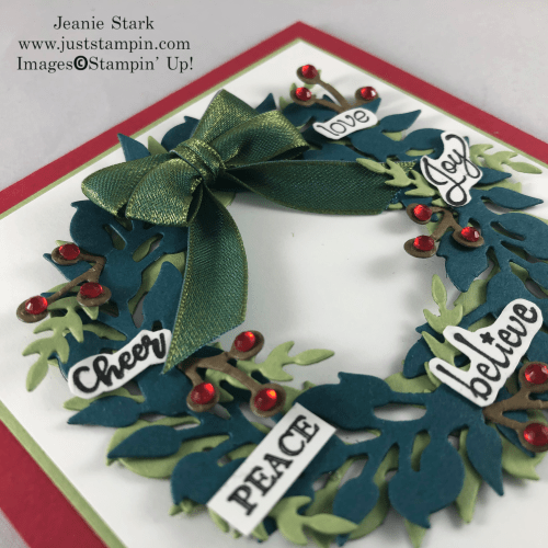 Stampin' Up! Itty Bitty Christmas and All-Around Wreath Dies inspirational Christmas card idea - Jeanie Stark StampinUp