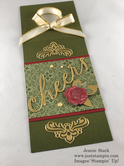 Stampin' Up! Wine Tag idea made with Cheers Die and Christmastime is Here Designer Series Paper - Jeanie Stark StampinUp