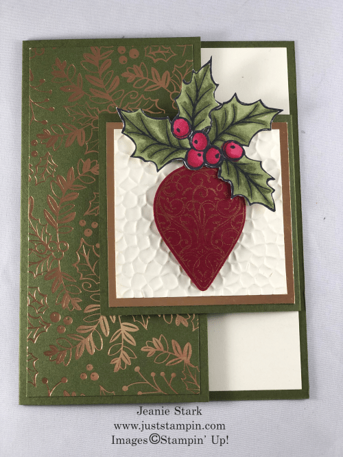 Stampin' Up! Christmas Gleaming Bundle fun fold Christmas card idea - Jeanie Stark StampinUp