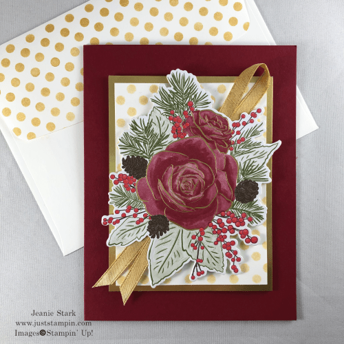 Stampin' Up! Basic Pattern Decorative Mask with Christmastime is Here Specialty Designer Series Paper All Occasion card idea - Jeanie Stark StampinUp