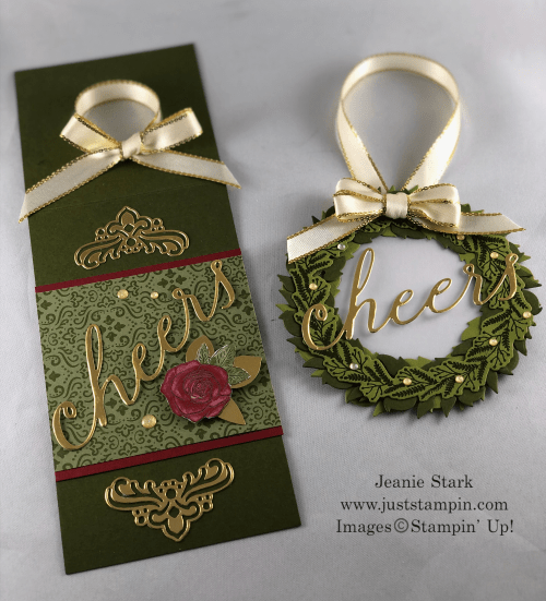 Stampin' Up! Wine tag ideas made with Cheers Dies, Christmastime is Here Specialty Designer Series Paper, Roses Dies, Tidings All Around Stamp Set, and Seasonal Wreath Dies - Jeanie Stark StampinUp