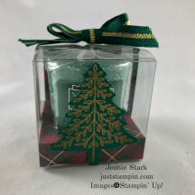 Stampin Up! Perfectly Plaid Clear Treat Box Yankee candle gift idea with Designer Series Paper - Jeanie Stark StampinUp