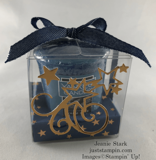 Stampin Up! Stitched Stars Clear Treat Box Yankee candle gift idea with Brightly Gleaming Designer Series Paper - Jeanie Stark StampinUp