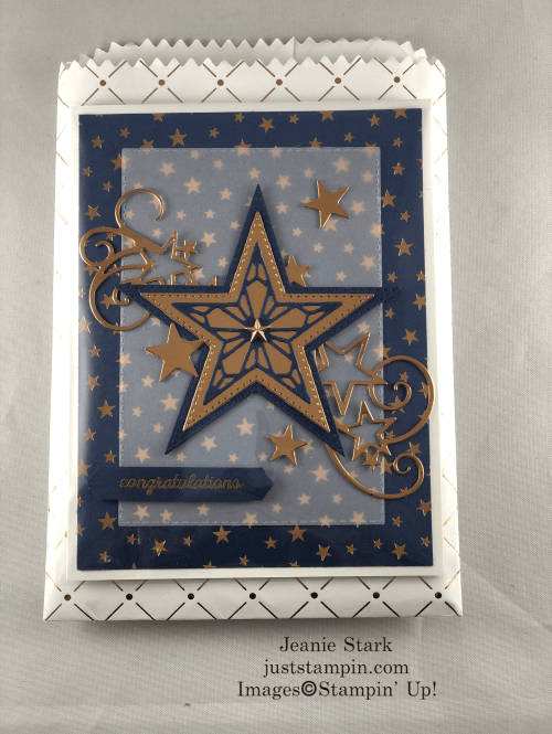 Stampin' Up! Stitched Stars Dies Congratulations card and treat bag idea - Jeanie Stark StampinUp