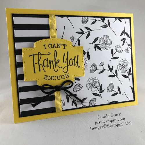 Stampin' Up! So Sentimental thank you card idea with GOlden Honey Specialty Designer Series Paper - Jeanie Stark StampinUp