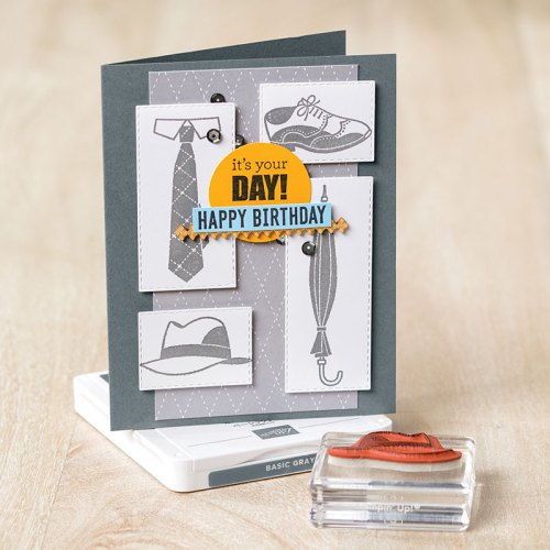 Stampin' Up! Well Dressed masculine birthday card idea - Jeanie Stark StampinUp