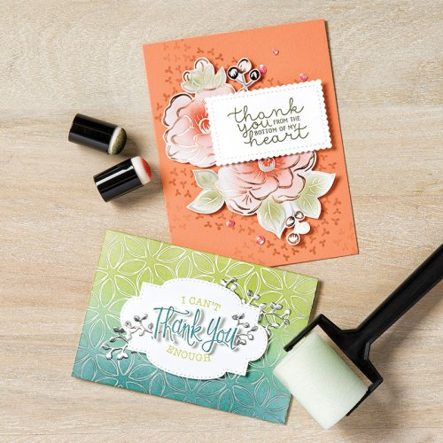 Stampin' Up! Flowering Foils Specialty Designer Series Paper Thank you card ideas with sponging technique - Jeanie Stark StampinUp