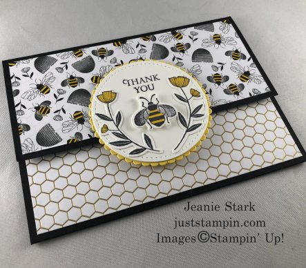 Stampin' Up! Honey Bee fun fold Thank You card idea - Jeanie Stark StampinUp