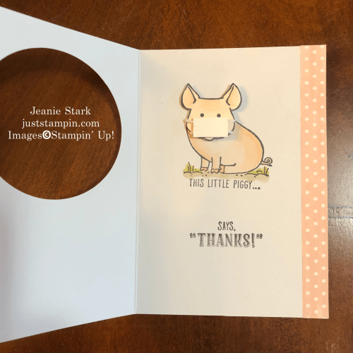 Stampin Up! This Little Piggy mask Thank You Card idea for Coronavirus Pandemic - Jeanie Stark StampinUp