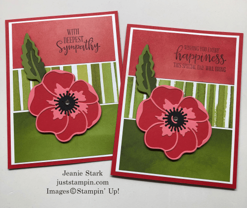 Stampin' Up! Peaceful Poppies Suite Birthday and Sympathy card ideas - Kit to go provided by Jeanie Stark StampinUp