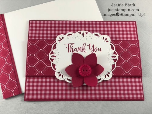 Stampin' Up! Stitched Labels Dies and 2018-2020 In Color Lovely Lipstick fun fold thank you card idea - Jeanie Stark StampinUp