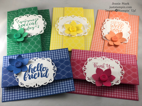 Stampin' Up! Stitched Labels Dies and 2018-2020 In Color fun fold card ideas for friend, get well, thank you, birthday, and more - Jeanie Stark StampinUp