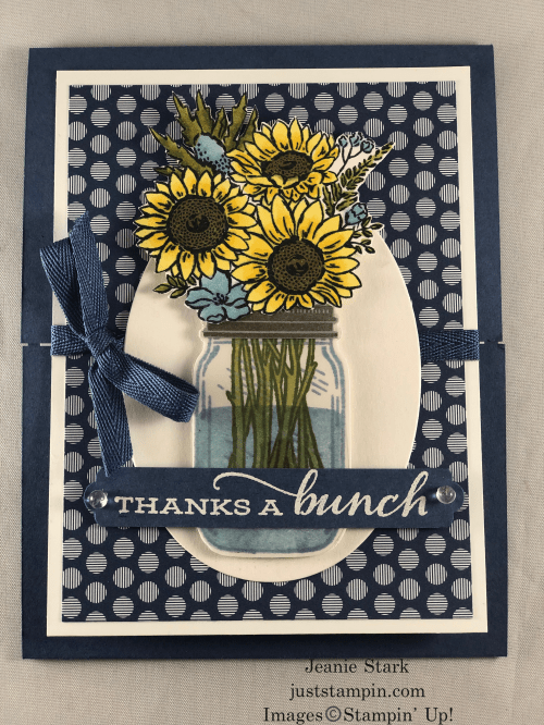 Stampin' Up! Jar of Flowers and Celebrate Sunflowers Fun Fold Thank You card idea - Jeanie Stark StampinUp