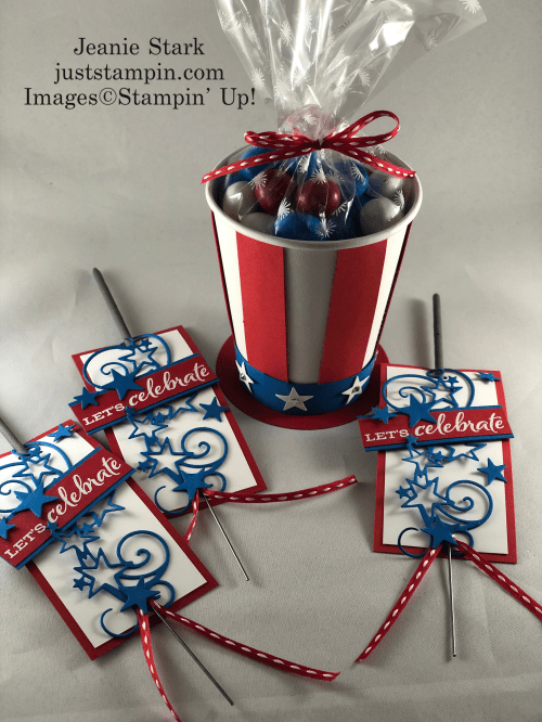 Stampin' Up! Celebrate Sunflowers and Stitched Stars table favors for 4th of July - Jeanie Stark StampinUp