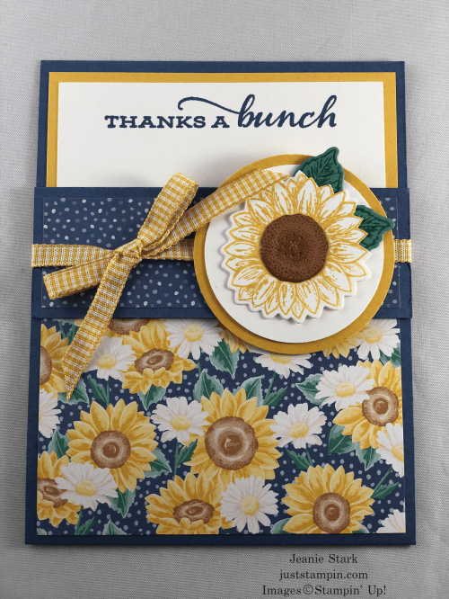 Stampin' Up! Celebrate Sunflowers and Flowers For Every Season fun fold thank you card idea - Jeanie Stark StampinUp