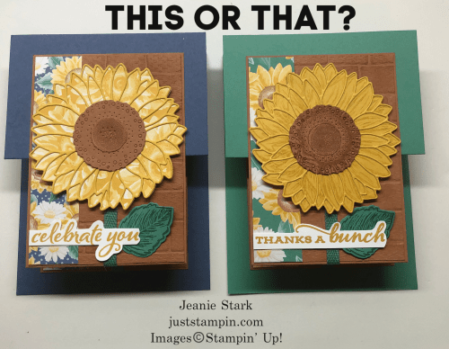 Stampin' Up! Celebrate Sunflowers fun fold birthday or thank you card idea - Jeanie Stark StampinUp