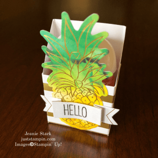 Stampin' Up! Paper Pumpkin Box of Sunshine alternative idea using a card to make a 3D box for a pocket hand sanitizer - Jeanie Stark StampinUp