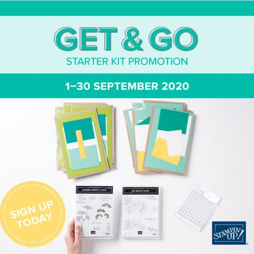 Stampin' Up! Get & Go Starter Kit Promotion - Join my team Sept. 1-30 and earn 2 free stamp sets plus cardstock pieces to create 16 cards - visit juststampin.com for more informaton - Jeanie Stark StampinUp