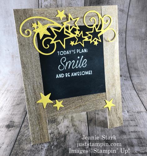 Stampin' Up! Daisy Lane, Nothing Better Than, and Forever Fern stamp sets were used to create this inspiration chalkboard easel card idea for back to school - Jeanie Stark StampinUp