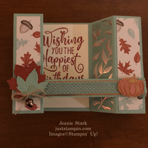 Stampin' Up! Happiest of Birthdays and Gathered Leaves Dies fun fold birthday card idea - Jeanie Stark StampinUp