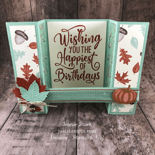 Stampin' Up! Happiest of Birthdays and Gathered Leaves fun fold fall birthday card idea - Jeanie Stark StampinUp
