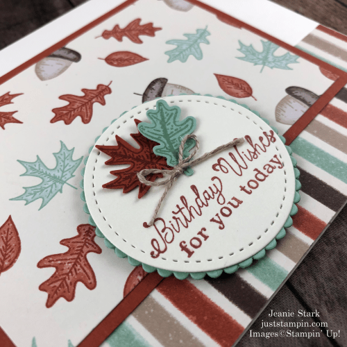 Stampin' Up! Beautiful Autumn fall birthday card idea with Gilded Autumn Specialty Designer Series Paper - Jeanie Stark StampinUp