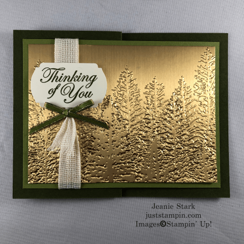 Stampin' Up! Thinking of You Evergreen Forest embossed card idea - Jeanie Stark StampinUp