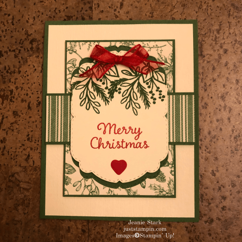 Stampin' Up! Celebration Tidings layered Christmas card idea with Toile Tidings Designer Series Paper - Jeanie Stark StampinUp