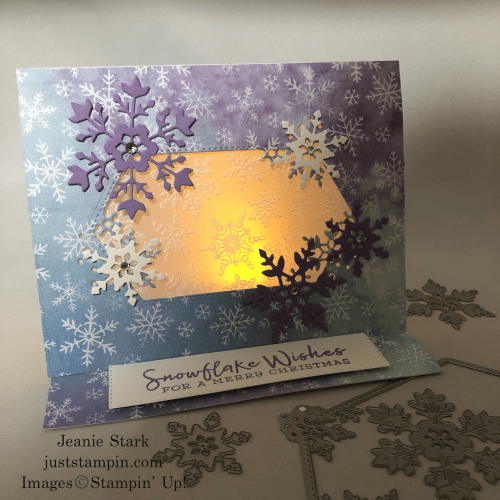 Stampin' Up! Snowflake Wishes light up fun fold Christmas card idea - Jeanie Stark StampinUp