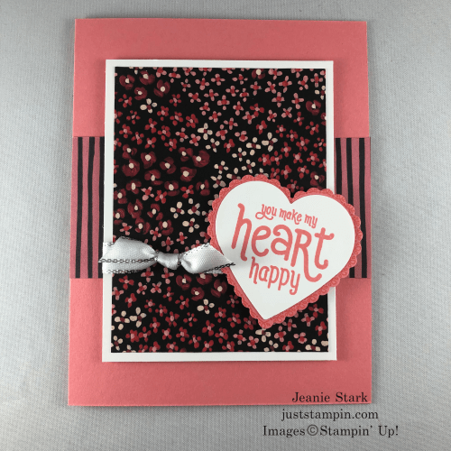 Stampin' Up! Punch Party Valentine Card Idea with Flower & Fields Designer Series Paper and Heart Punch Pack - Jeanie Stark StampinUp