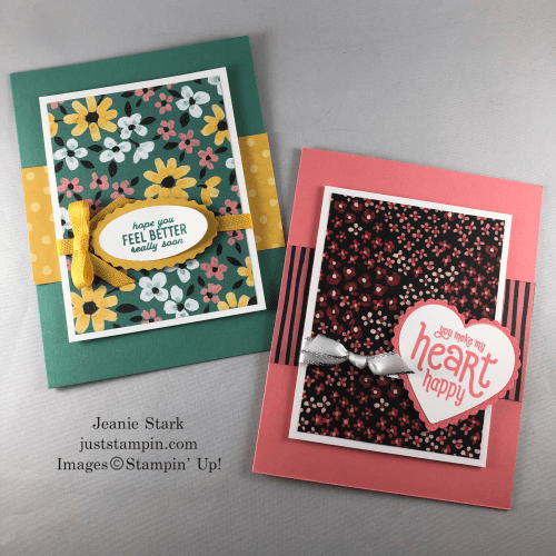 Stampin' Up! Punch Party Stamp Set with Flower & Fields Designer Series Paper, Hheart Punch Pack, and Double Oval Punch- Cards for any occcasion - Jeanie Stark StampinUp