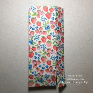 Stampin' Up! Berry Delightful Designer Series Paper strawberry bag tutorial for Bath & Body Works lotion - Jeanie Stark StampinUp
